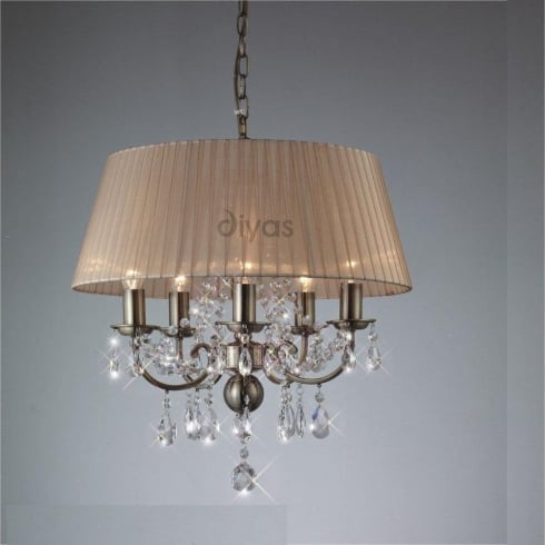 Diyas UK Olivia IL-IL30047 Antique Brass Crystal Five Light Pendant Ceiling Fitting with Amber Cream Shade