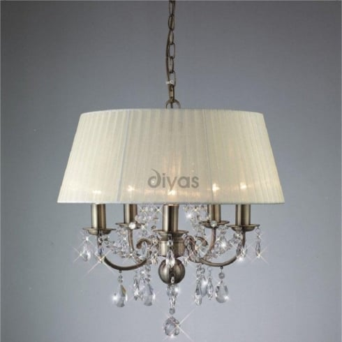 Diyas UK Olivia IL-IL30048 Antique Brass Crystal Five Light Pendant Ceiling Fitting with Ivory Cream Shade