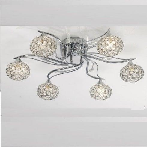 Diyas Leimo IL30956 Polished Chrome Crystal Six Lamp Ceiling Light