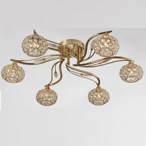 Diyas Leimo IL30966 French Gold Crystal Six Lamp Ceiling Light