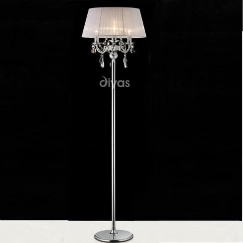 Diyas Olivia IL30063/WH Polished Chrome Crystal Three Light Floor Lamp with White Shade
