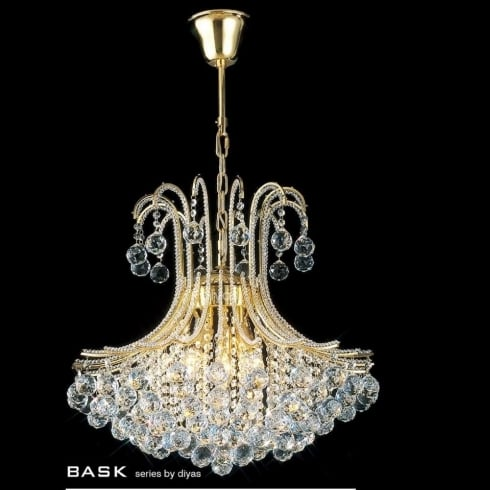Diyas UK Bask IL-IL30217 Gold Crystal Six Light Pendant Ceiling Fitting