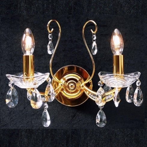 Fantastic Concerto 1525/2P With Crystal Peardrop Trimmings Gold Plated Wall Bracket
