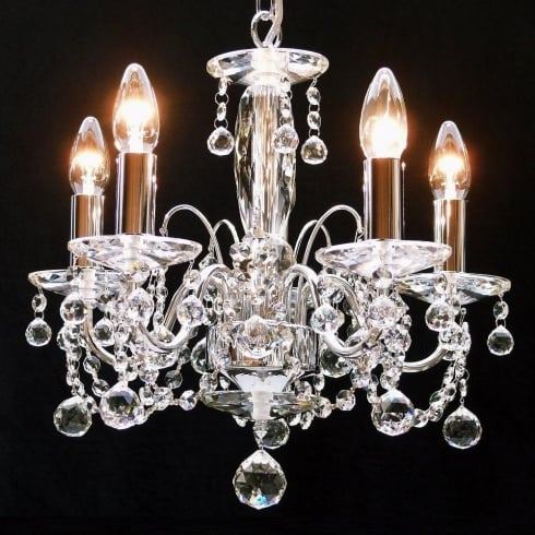 Fantastic Lighting Figaro 411/5  Chrome With Crystal Ball Trimmings Chandelier