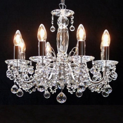Fantastic Figaro 411/8 Chrome With Crystal Ball Trimmings Chandelier