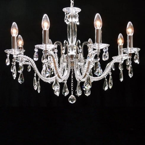 Fantastic Lighting Mozart 603/8 Chrome Beaded Arm & New Pear Shape Trimmings Chandelier