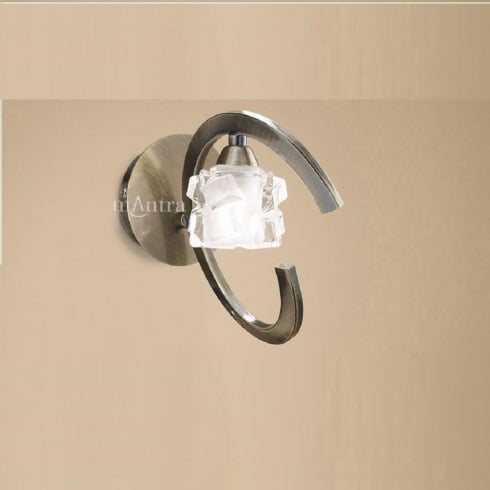 Mantra Ice M1865/S Antique Brass Switched Single Lamp Wall Light