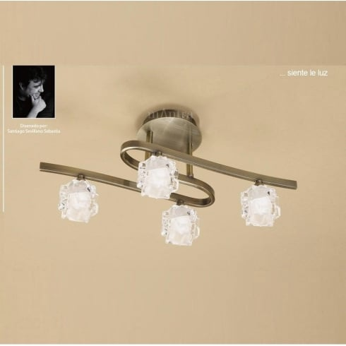 Mantra Ice M1863 Antique Brass Four Lamp Ceiling Light