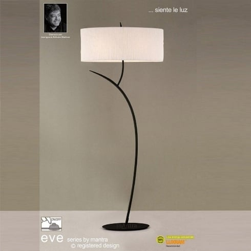 Mantra Spain Eve M1159 Antracite Twin Light Floor Lamp with White Shade