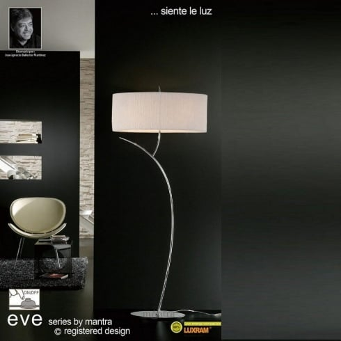 Mantra Eve M1139 Polished Chrome Twin Light Floor Lamp with White Shade