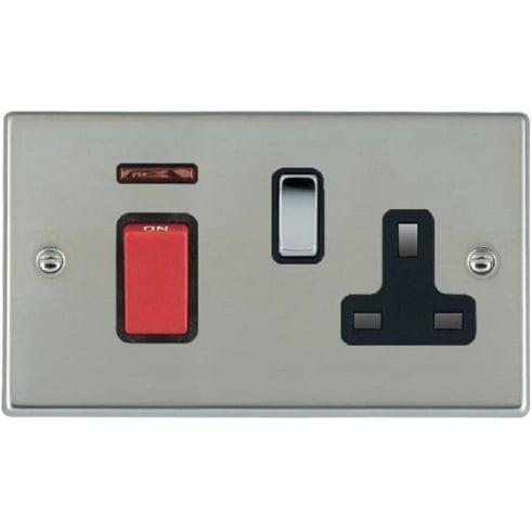 Hamilton Hartland 7345SS1BC-B Bright Chrome 45A Double Pole Rocker + Neon + 13A Switched Socket