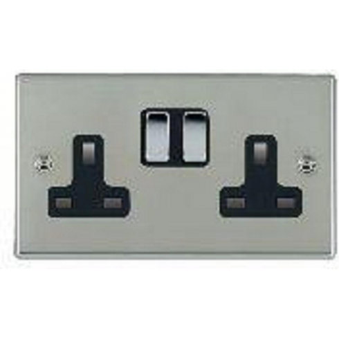 Hamilton Litestat Hartland 73SS2BC-B Bright Chrome 2 gang 13A Double Pole Switched Socket