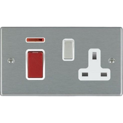 Hamilton Hartland 7445SS1SS-W Satin Steel 45A Double Pole Rocker + Neon + 13A Switched Socket