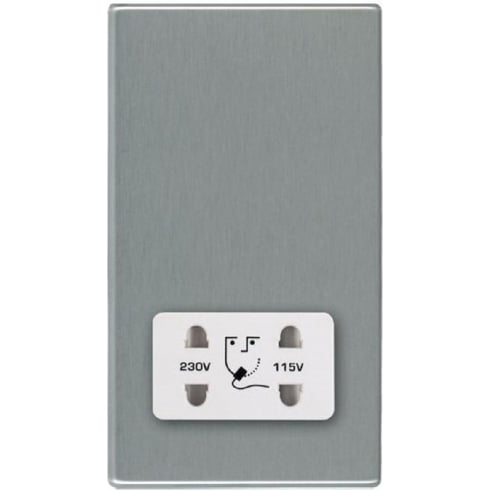 Hamilton Hartland 74CSHSW Satin Steel Shaver Dual Voltage Unswitched Socket (Vertically Mounted)