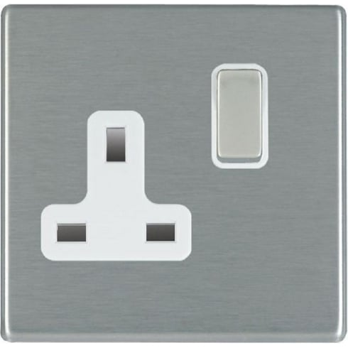 Hamilton Litestat Hartland 74CSS1SS-W Satin Steel 1 gang 13A Double Pole Switched Socket