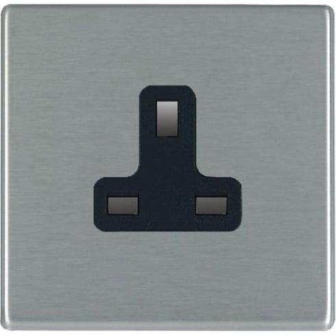 Hamilton Hartland 74CUS13B Satin Steel 1 gang 13A Unswitched Socket