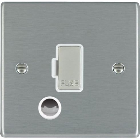 Hamilton Hartland 74FOCSS-W Satin Steel 1 gang 13A Fuse and Cable Outlet