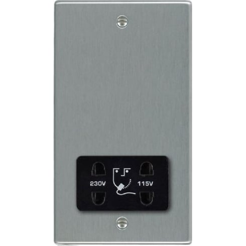 Hamilton Hartland 74SHSB Satin Steel Shaver Dual Voltage Unswitched Socket (Vertically Mounted)
