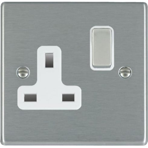 Hamilton Hartland 74SS1SS-W Satin Steel 1 gang 13A Double Pole Switched Socket