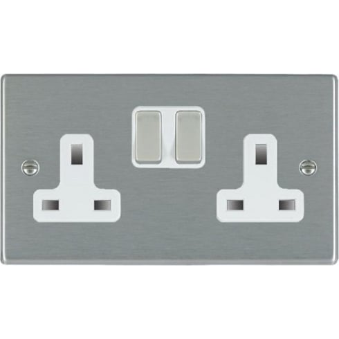 Hamilton Litestat Hartland 74SS2SS-W Satin Steel 2 gang 13A Double Pole Switched Socket