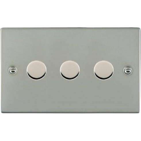 Hamilton Sheer 833X40 Bright Chrome 3 gang 400W 2 Way Leading Edge Push On/Off Resistive Dimmer
