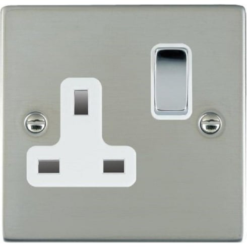Hamilton Sheer 83SS1BC-W Bright Chrome 1 gang 13A Double Pole Switched Socket
