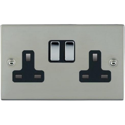 Hamilton Sheer 83SS2BC-B Bright Chrome 2 gang 13A Double Pole Switched Socket