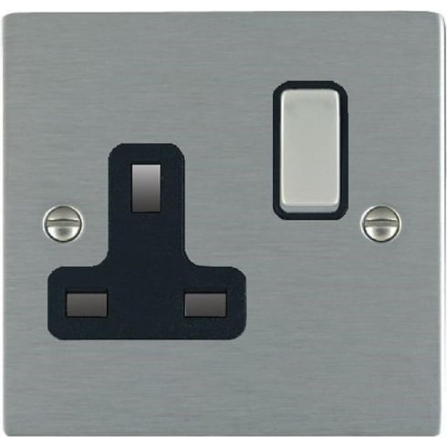 Hamilton Sheer 84SS1SS-B Satin Steel 1 gang 13A Double Pole Switched Socket