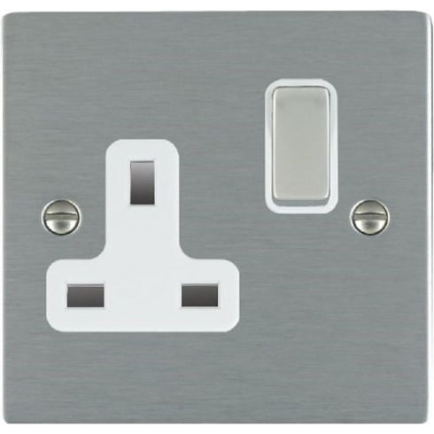 Hamilton Sheer 84SS1SS-W Satin Steel 1 gang 13A Double Pole Switched Socket