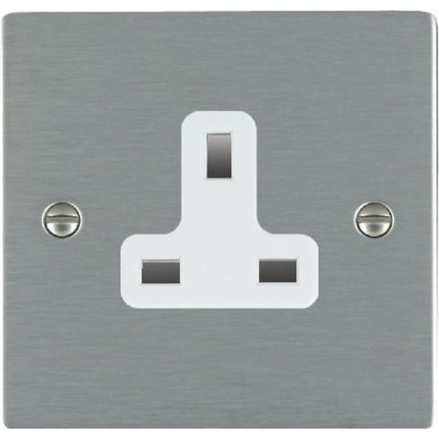 Hamilton Litestat Sheer 84US13W Satin Steel 1 gang 13A Unswitched Socket