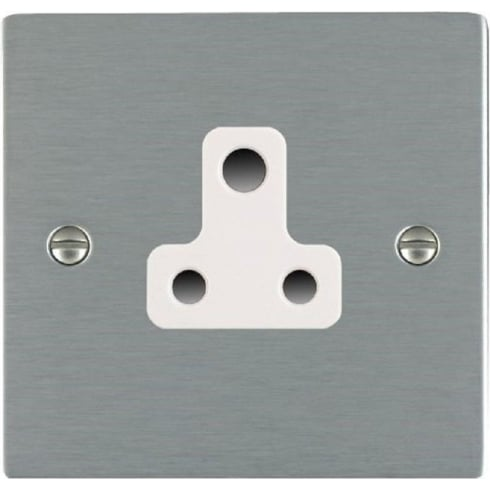 Hamilton Sheer 84US5W Satin Steel 1 gang 5A Unswitched Socket