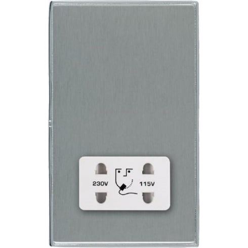Hamilton Litestat Linea-Duo CFX LDSHSBC-SSW Satin Steel Shaver Dual Voltage Unswitched Socket (Vertically Mounted)