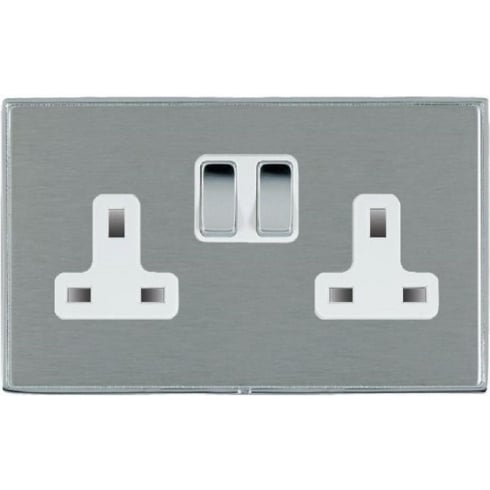 Hamilton Litestat Linea-Duo CFX LDSS2BC-SSW Satin Steel 2 gang 13A Double Pole Switched Socket