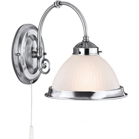 Searchlight Electric American Diner 1041-1 Satin Silver With Opaque Ribbed Glass Wall Light