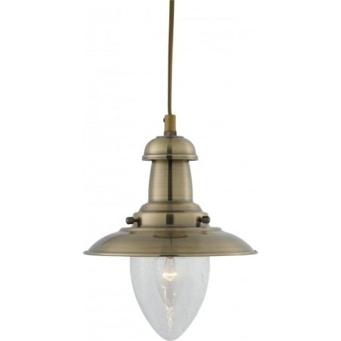 Searchlight Electric Fisherman 5787AB Antique Brass Single Pendant Small