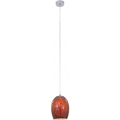 Searchlight Electric Ariana 8069RE Chrome With Red Mosaic Glass Shade Pendant