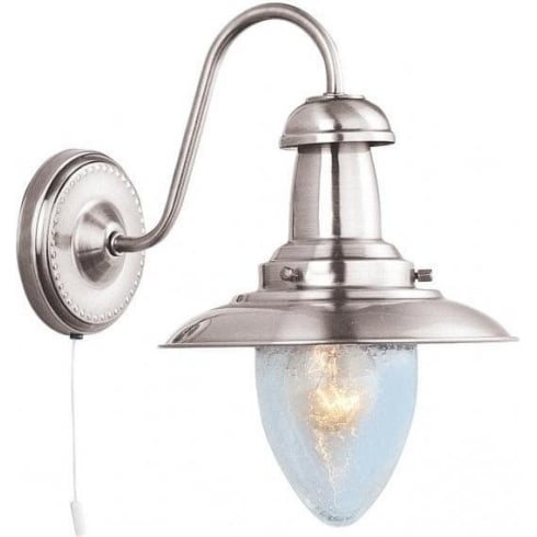 Searchlight Electric Fisherman 5331-1SS Satin Silver With Clear Seeded Glass Shade Wall Light
