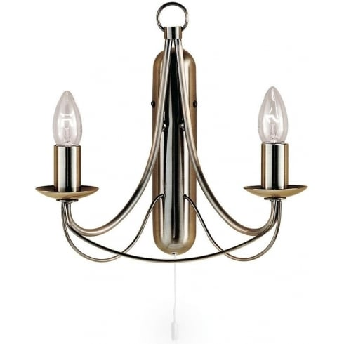 Searchlight Electric Maypole 6342-2AB Antique Brass Wall Light Double