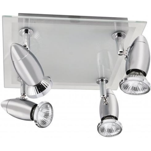Searchlight Electric Saturn 8764CC Chrome With Clear & Frosted Glass 4 Light Bar Ceiling Spot Light