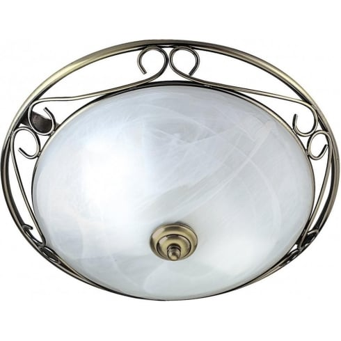 Searchlight Electric Flush 6436 Antique Brass Flush Ceiling Light