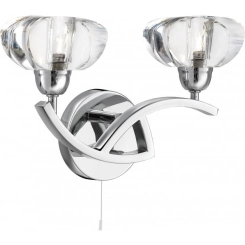 Searchlight Electric Sculptured Ice 8086-2CC Chrome With K9 Glass Wall Light
