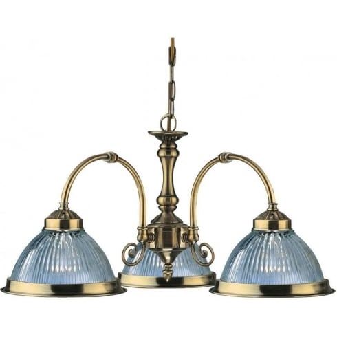 American Diner 9343-3 Antique Brass With Clear Ribbed Glass Pendant