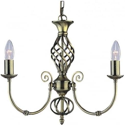 Searchlight Zanzibar 8393-3 Antique Brass Pendant