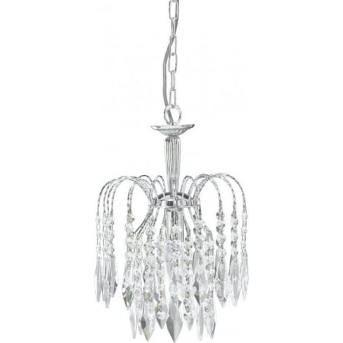 Searchlight Electric Waterfall 4271-1 Chrome With Crystal Detail Pendant