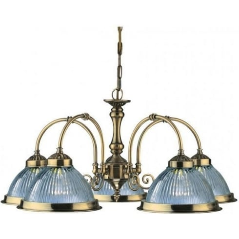 Searchlight American Diner 9345-5 Antique Brass With Clear Ribbed Glass 5 Light Pendant