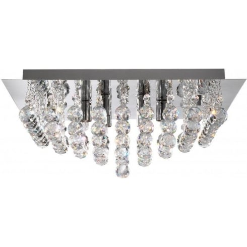 Searchlight Electric Hanna 6404-4CC Chrome With Crystal Detail Flush Ceiling Light