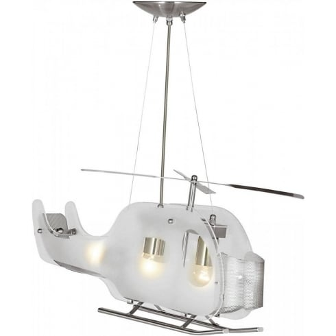 Searchlight Electric Novelty 639 Satin Silver Helicopter Ceiling Light