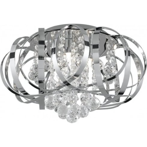 Searchlight Electric Tilly 5973-3CC Chrome With Crystal Glass Detail Semi-Flush Ceiling Light