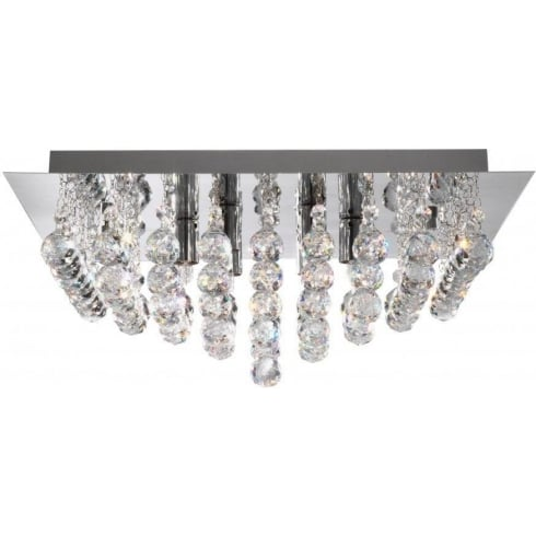Searchlight Electric Hanna 6408-8CC Chrome With Crystal Detail Flush Ceiling Light