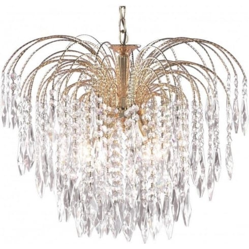 Searchlight Electric Waterfall 5175-5 Gold With Crystal Detail Pendant